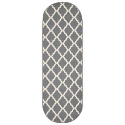 Glamour Collection Gray 1 ft. 8 in x 4 ft. 11 in. Trellis Design Oval Kids Runner Rug