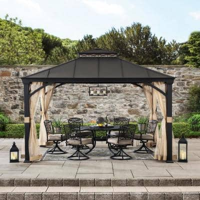 Lanier 10.5 ft. x 12.5 ft. Brown Steel Gazebo with 2-Tier Hip Roof Hardtop with Mosquito Netting