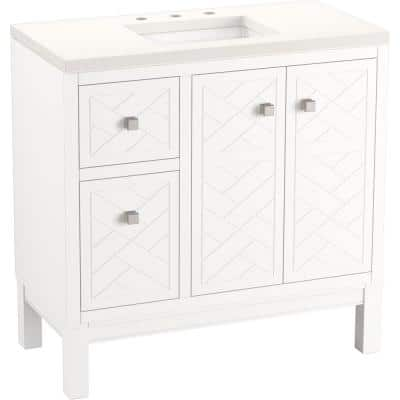 Beauxline 36.25 in. W x 18.0625 in. D x 35.625 in. H Bathroom Vanity in White with Quartz Top