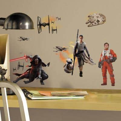 5 in. W x 11.5 in. H Star Wars EP VII Ensemble Cast 15-Piece Peel and Stick Wall Decal