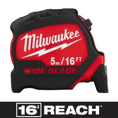 5 m/16 ft. x 1.3 in. Wide Blade Tape Measure with 17 ft. Reach