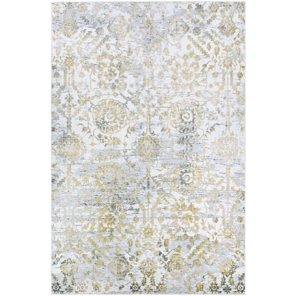 Couristan Calinda Marlowe Gold Silver Ivory 7 Ft X 10 Ft Area Rug 51780747066096t The Home Depot