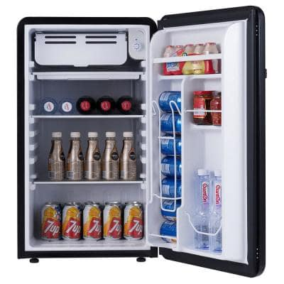 3.2 cu. ft. Retro Compact Mini Fridge Refrigerator with Freezer Interior Shelves Handle in Black
