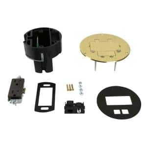 Wiremold Dual Service Floor Box Kit with 15 Amp Receptacle and 1 RJ45 Cat 5e Jack, Coax F Jack, Brass Cover