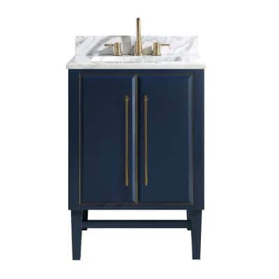 Mason 25 in. W x 22 in. D Bath Vanity in Navy Blue/Gold Trim with Marble Vanity Top in Carrara White with White Basin
