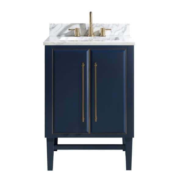 Avanity Mason 25 In W X 22 In D Bath Vanity In Navy Blue Gold Trim With Marble Vanity Top In Carrara White With White Basin Mason Vs25 Nbg C The Home Depot