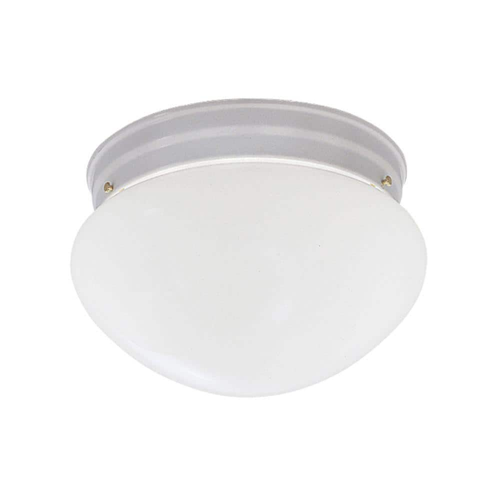 Hampton Bay Basic Flushmount 9 In 2 Light White Flush Mount With Frosted Glass Shade 4732 Wh The Home Depot