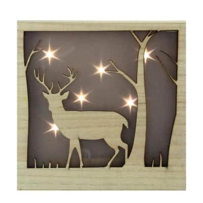 9.75 in. LED Lighted Male Deer with Antlers Stars Lighted Christmas Wooden Box