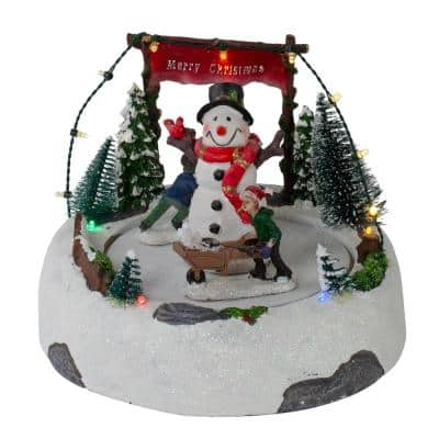6 in. H x 8 in. W LED Lighted and Animated Christmas Village with Snowman