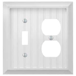 Cottage 2 Gang 1-Toggle and 1-Duplex Composite Wall Plate - White