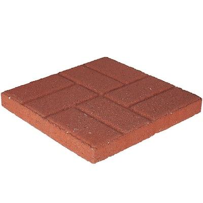 16 in. x 16 in. x 1.75 in. River Red Concrete Brickface Square Step Stone