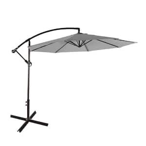 Bayshore 10 ft. Cantilever Hanging Patio Umbrella in Gray
