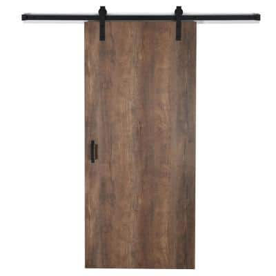 37 in. x 84 in. Oxidized Beamwood 9484-58 Solid Core Wood Flush Barn Door with Sliding Door Hardware Kit