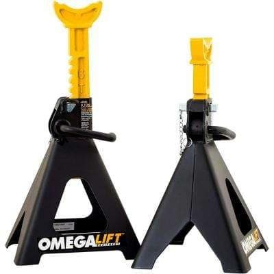 6-Ton Jack Stands Pair - Double Locking Pins - Handle Lock and Mobility Pin for Auto Repair Shop with Extra Safety