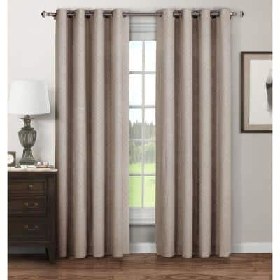 Taupe Extra Wide Grommet Sheer Curtain - 52 in. W x 96 in. L  (Set of 2)
