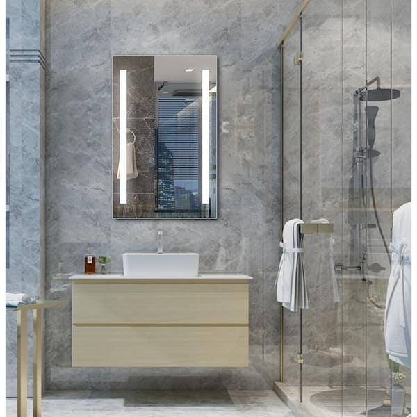 Ltl Home Products Mini Maxx 16 In W X 25 In H Frameless Rectangular Led Light Bathroom Vanity Mirror In Aluminum Li9582 The Home Depot