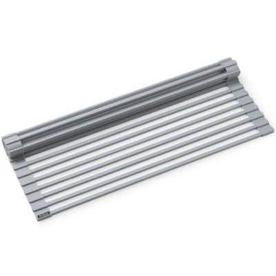 20.5 in. Over Sink Roll Up Dish Drying Rack in Grey