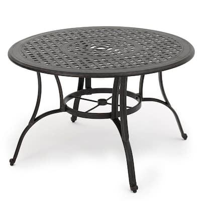 Yaretzi Circular Cast Aluminum Outdoor Dining Table