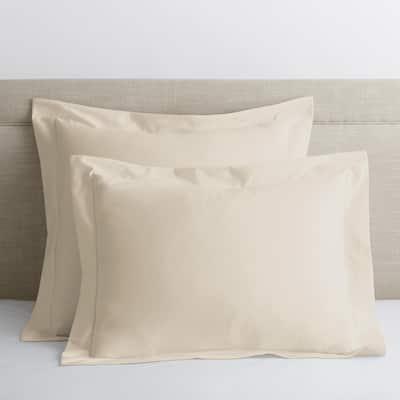 Legends Luxury Solid Cream 500-Thread Count Cotton Sateen Standard Sham