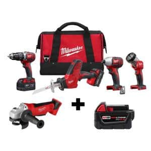 M18 18-Volt Lithium-Ion Cordless Combo Tool Kit (4-Tool) w/ Grinder and Additional 5.0Ah Battery