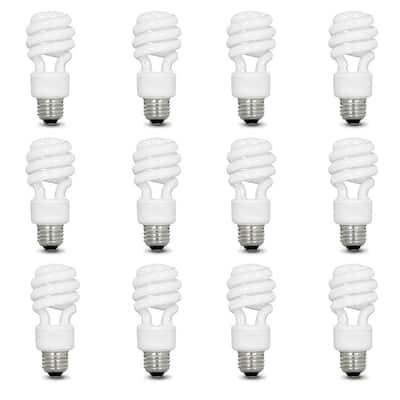 60-Watt Equivalent T3 Spiral Non-Dimmable E26 Base Compact Fluorescent CFL Light Bulb, Soft White 2700K (12-Pack)