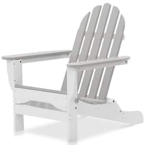 Icon White and Light Gray Plastic Folding Adirondack Chair