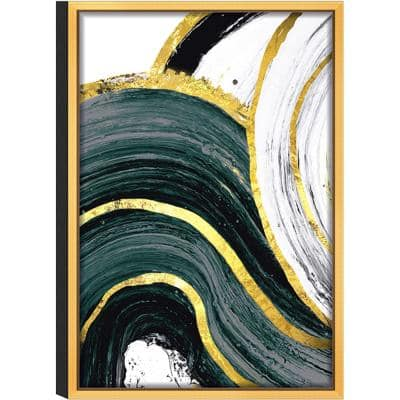 Green Flow' Acrylic UV Resistant Glass Gold Frame Abstract Wall Art 24 in. L x 36 in. W