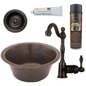 Bronze 16 Gauge Copper 16 in. Dual Mount Round Bar Sink with Faucet and 2 in. Strainer Drain
