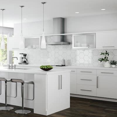 Designer Series Edgeley Assembled 33x34.5x20.25 in. Lazy Susan Corner Base Kitchen Cabinet in White