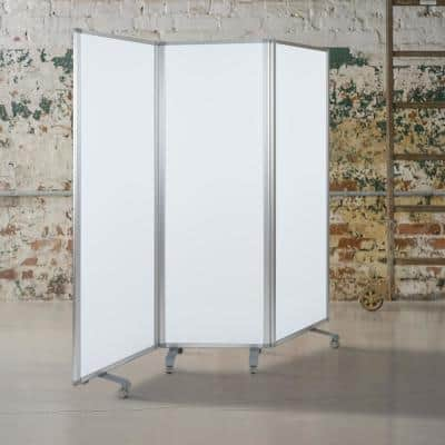 Mobile Magnetic White Board Partition with Lockable Casters 72 in. H x 24 in. W (3-Sections Included)
