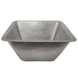 Nickel 16 Gauge Copper 17 in. Dual Mount Square Bar Sink