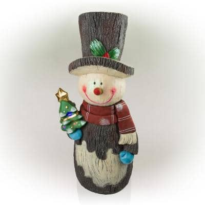 Solar Snowman Statue with Color Changing LED Lights, 48 in. Tall
