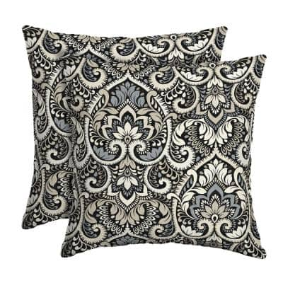 16 in. x 16 in. Black Aurora Damask Outdoor Square Pillow (2-Pack)