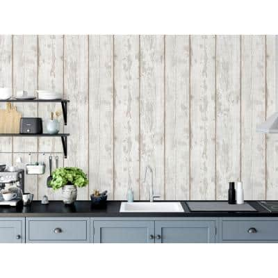 White Washed Wood Peel and Stick Non-Woven Wallpaper