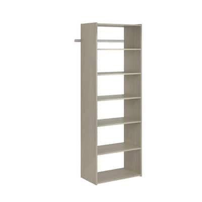 Essential Shelf 25 in. W Rustic Grey Wood Closet Tower