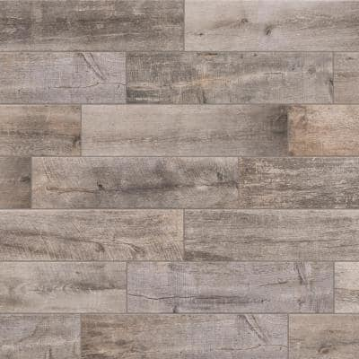 Sunset Wood Dark Grey 6 in. x 24 in. Porcelain Floor and Wall Tile (14 sq. ft./Case)