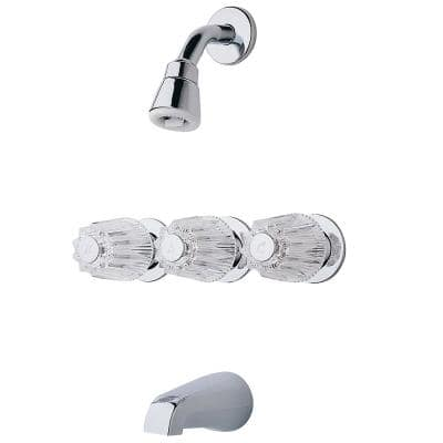 3-Handle 1-Spray Tub and Shower Faucet with Metal Knob Handles in Polished Chrome (Valve Included)
