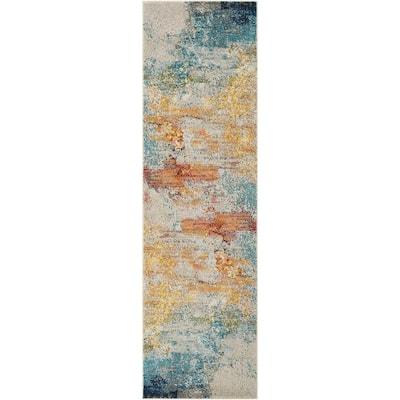 Celestial Sealife Multicolor 2 ft. x 8 ft. Abstract Modern Runner Rug