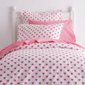 Cstudio Home By The Company Store Sweetheart Hot Pink Cotton Percale Twin Duvet Cover 30305d T Hot Pink The Home Depot