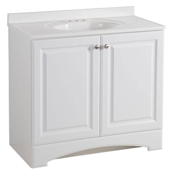 Glacier Bay 36 50 In W X 18 68 In D Bath Vanity In White With Cultured Marble Vanity Top In White With White Basin Gb36p2 Wh The Home Depot