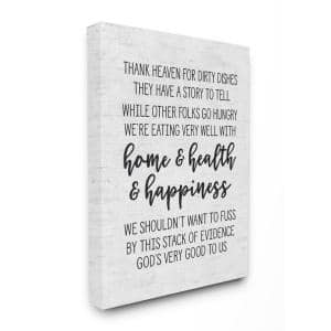 30 in. x 40 in. ''Home Health Happiness Subtle Birch Typography'' by Artist Lettered and Lined Canvas Wall Art