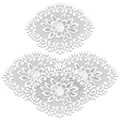 Rose 12 in. x 16 in. White Doily (Set of 4)
