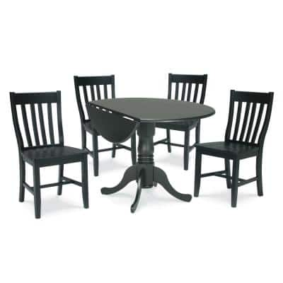 Brynwood 5-Piece 42 in. Black Round Drop-Leaf Wood Dining Set with Cafe Chairs