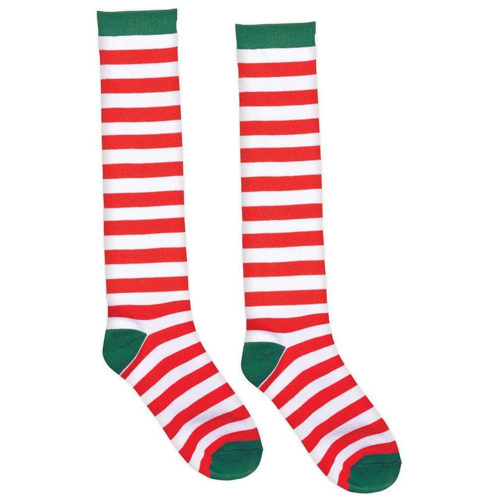 Womens Red Green Stripe Elf Christmas Santa Helper Over The Knee Ladies Socks