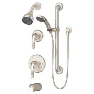 Origins Temptrol 1-Handle Wall Mount Tub/Shower Faucet Trim Kit with Hand Shower in Satin Nickel (Valve Not Included)