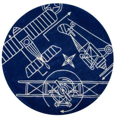 Lil Mo Hipster Aero Navy Blue 5 ft. x 5 ft. Indoor Kids Round Area Rug
