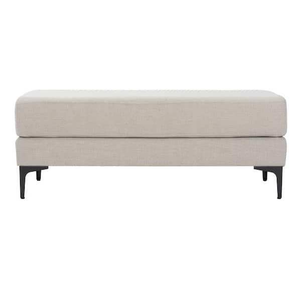 Safavieh Elise 48 In Light Gray Linen Black Upholstered Bench Bch6302d The Home Depot