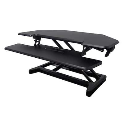 36 in. Corner Black Standing Desk with Adjustable Height Feature