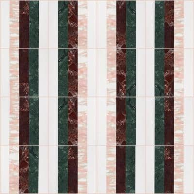 Elizabeth Sutton Bow Passion 12 in. x 12 in. Polished Marble Floor and Wall Mosaic Tile (1 sq. ft. / Sheet)