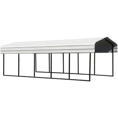 10 ft. W x 24 ft. D Eggshell Galvanized Steel Carport, Car Canopy and Shelter